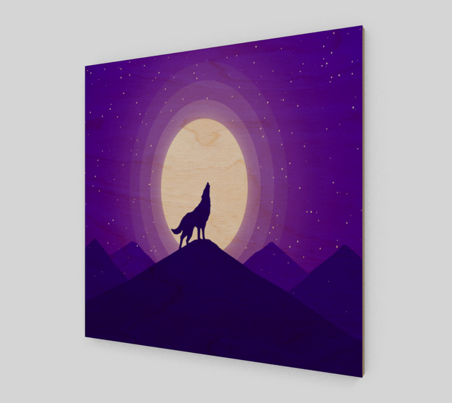 Wolf Howling - Purple {Wolf Paintings On Canvas For Sale}