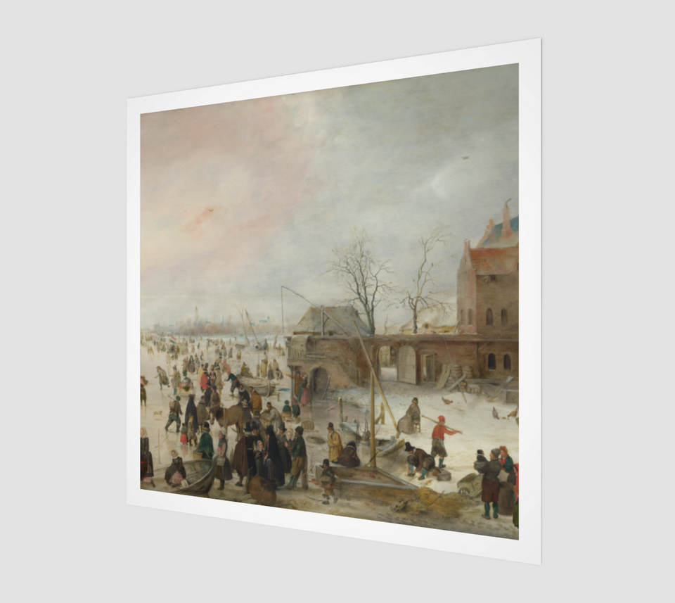 A Scene on the Ice near a Town Painting by Hendrick