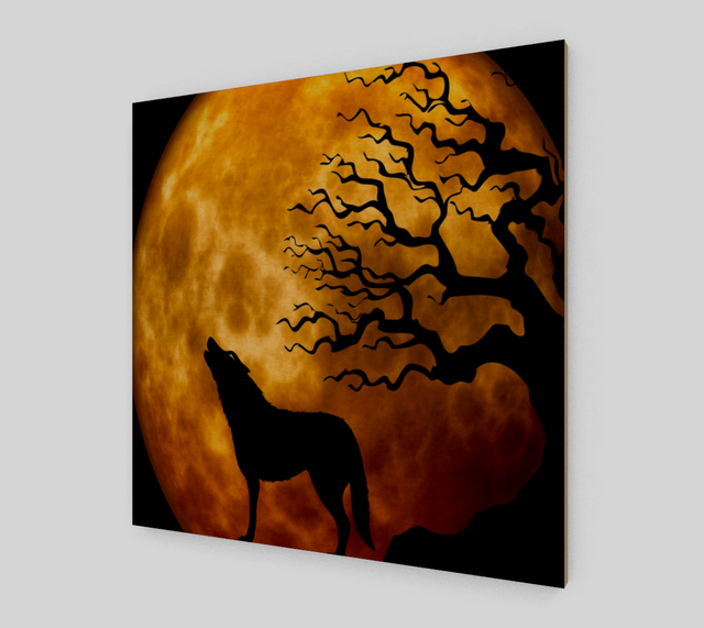Wolf Howling - Yellow Moon Background {Art Prints For Sale}