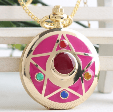 Ovasmart MOON PRISM WATCH NECKLACE - 14K GOLD-PLATED