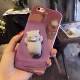 Ovasmart Sleeping Gray Cat / for I7 Squishy 3D Phone Case for iPhone