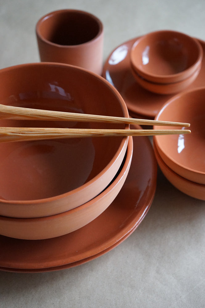 Dinnerware dish set in clay finish.