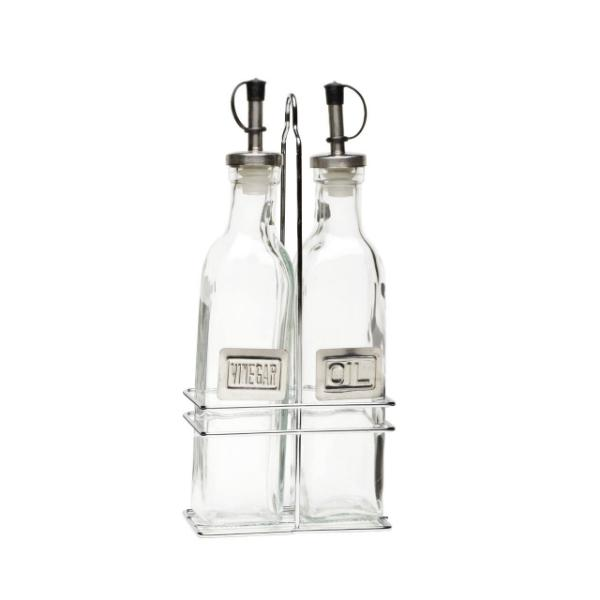 Square Glass Oil & Vinegar With Chrome Stand