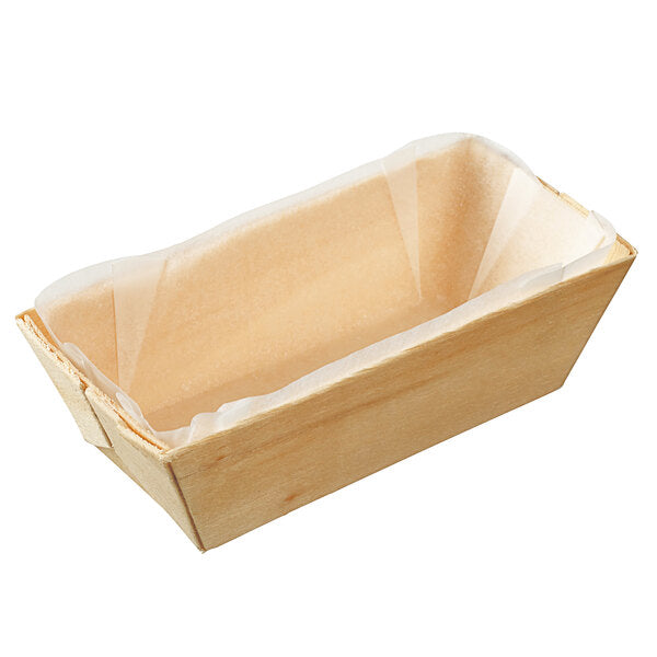 Rectangular Wooden Punnet with Baking Paper 375ml  - Box of 150