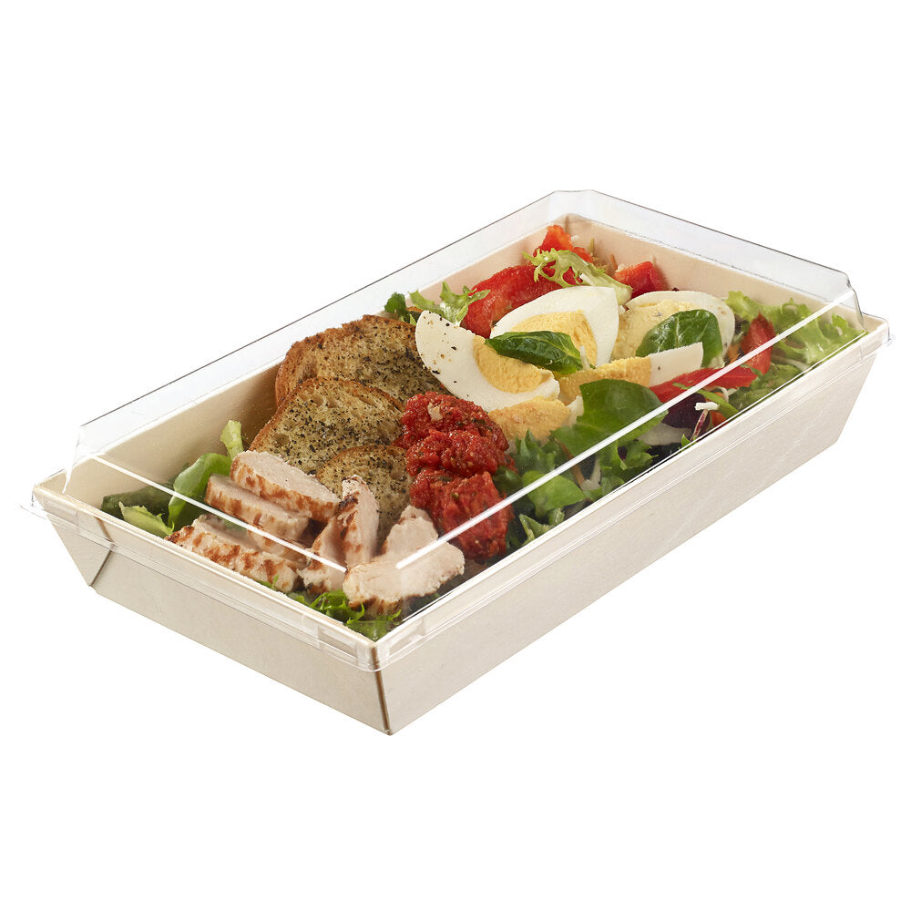 Rectangular Laminated Wooden Punnet Take Away Box with OPS Lid 100cl - Box of 150