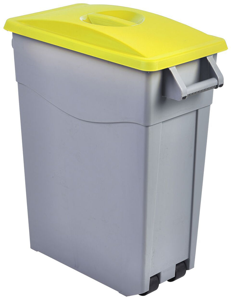 Yellow Closed Lid For Slim Recycling Bin