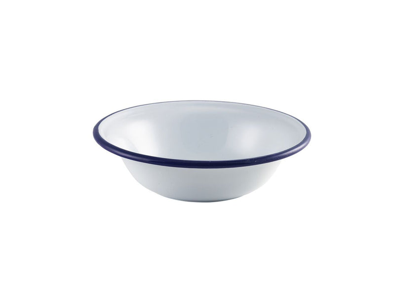Enamel Bowl White with Blue Rim 16cm/6.25""