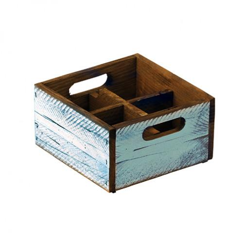 Stackable Turquoise Wooden Box - 4 compartments