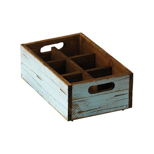 StackableTurquoise Wooden Box - 6 compartments