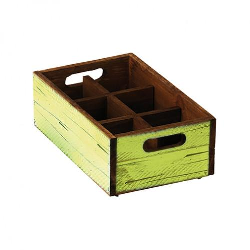 Stackable Green Wooden Box - 6 compartments