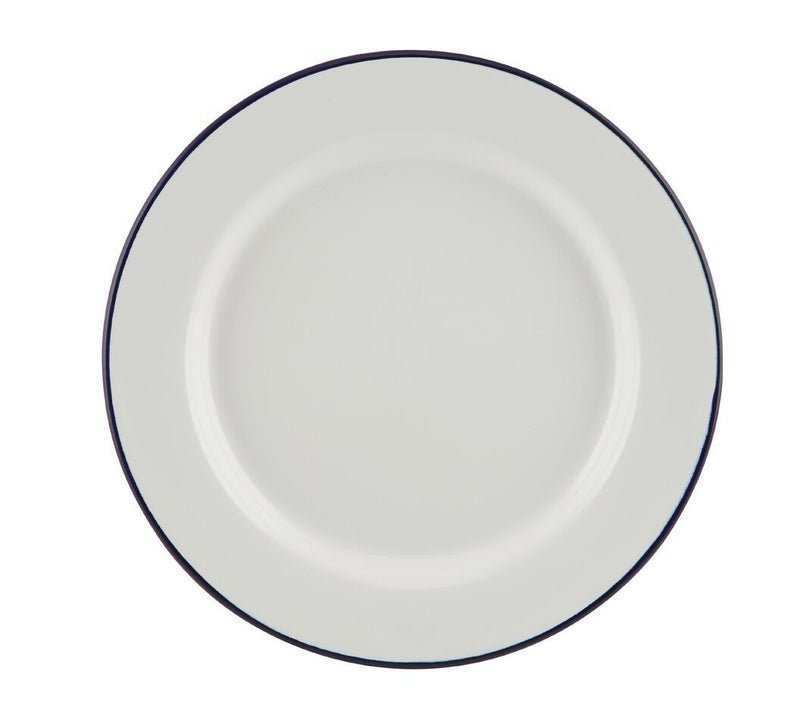 Enamel Wide Rim Plate White & Blue 20cm