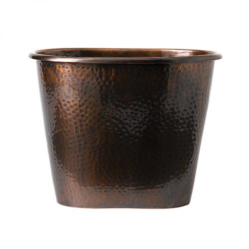 Oval Hammered Antique Copper Large Bucket