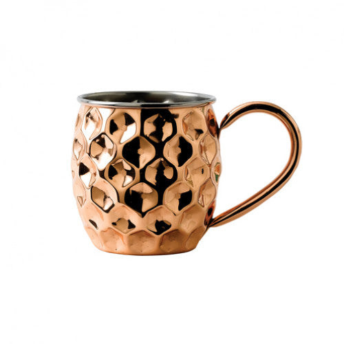 Solid Copper Dented Mug with nickel lining 48cl