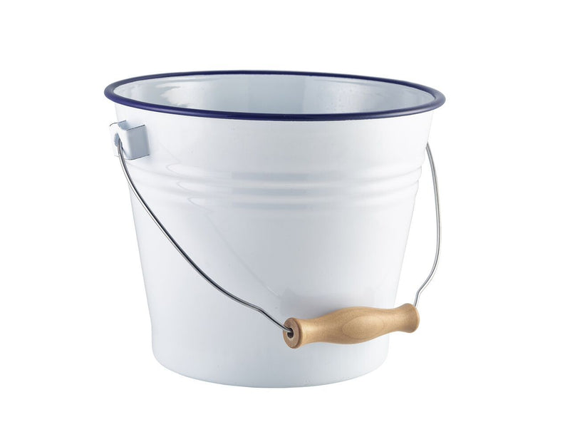Enamel Bucket White with Blue Rim 22cm Ø