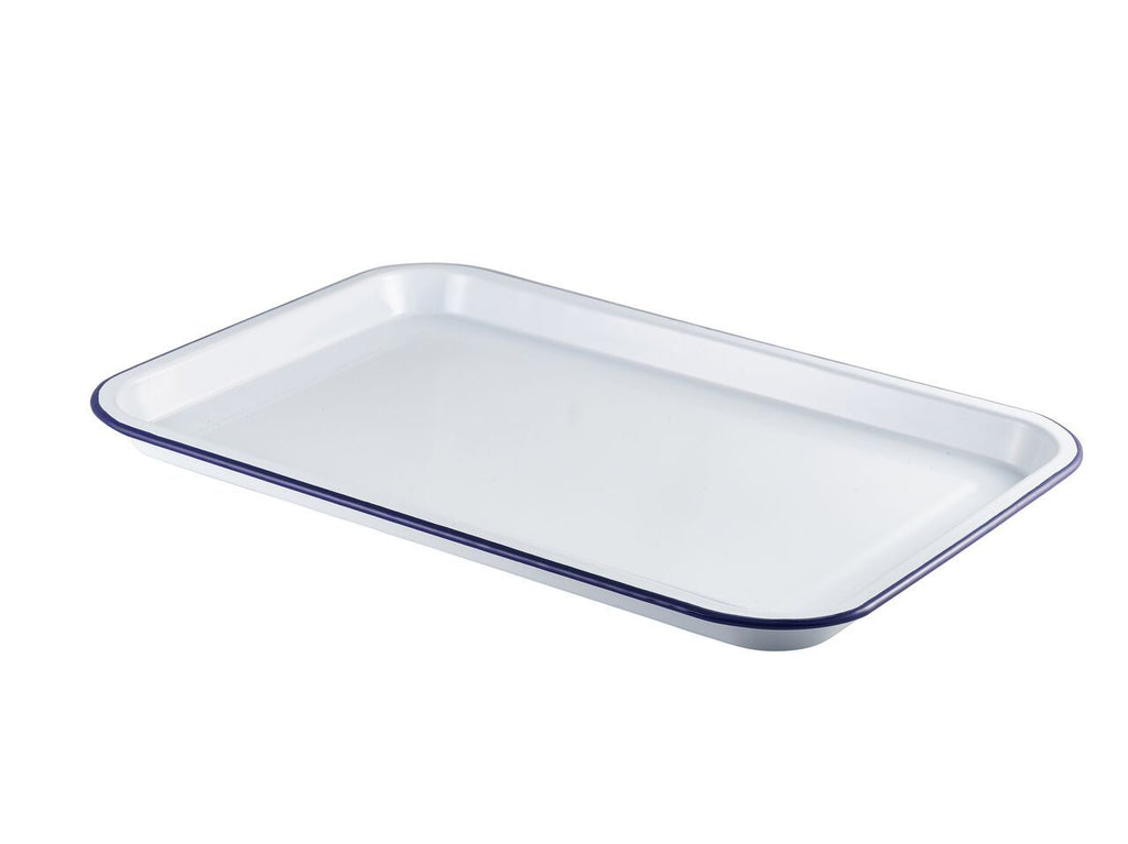 Enamel Serving Tray White with Blue Rim 33.5x23.5x2.2cm