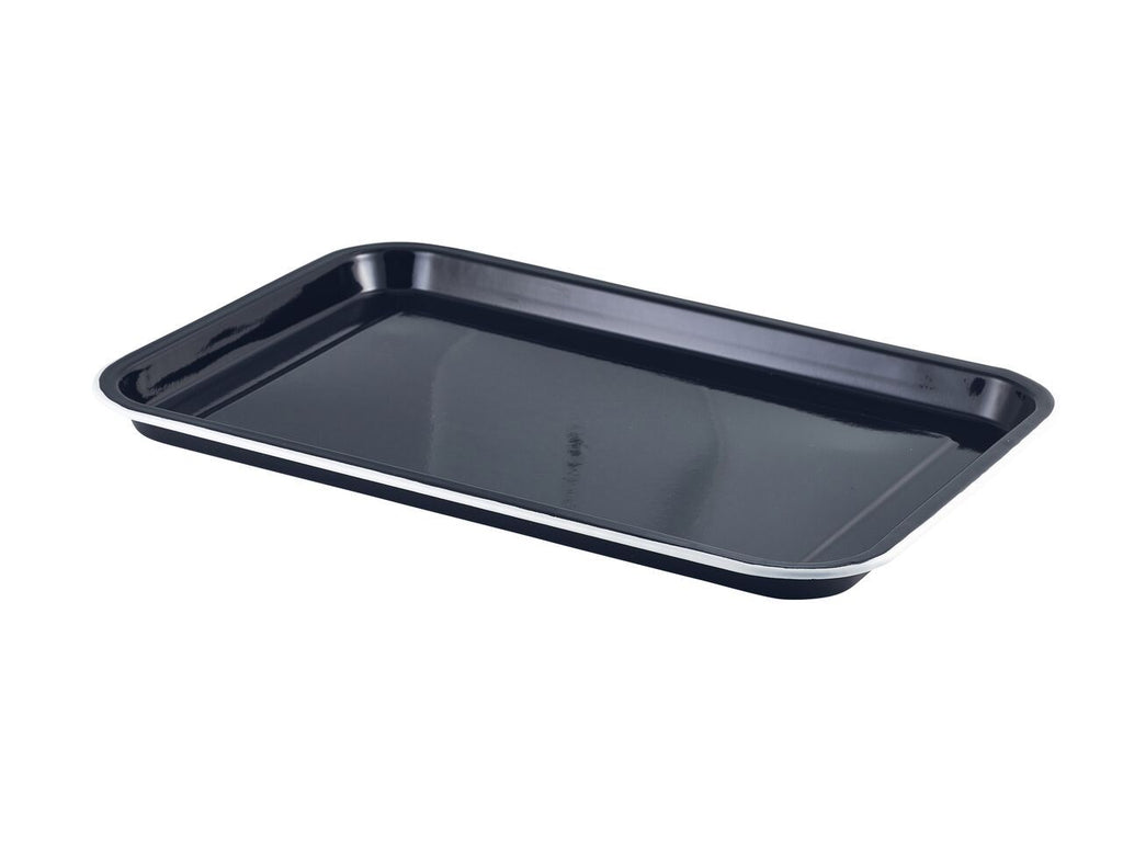 Enamel Serving Tray Black with White Rim 38.2x26.4x2.2cm