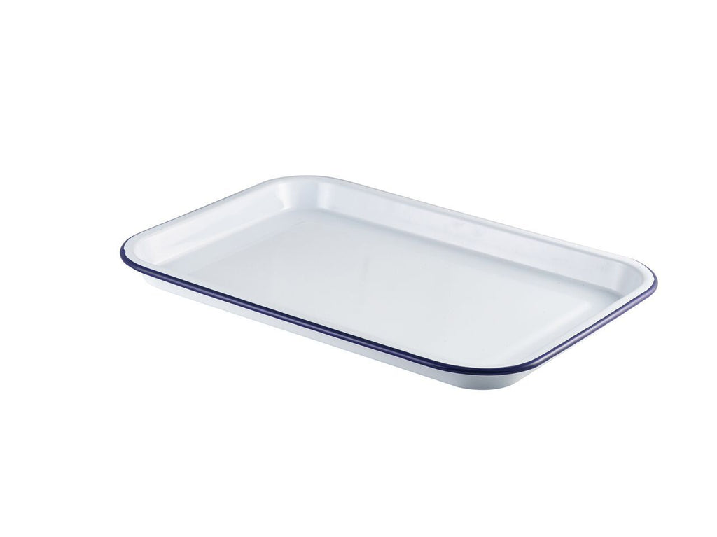 Enamel Serving Tray White with Blue Rim 38.2x26.4x2.2cm