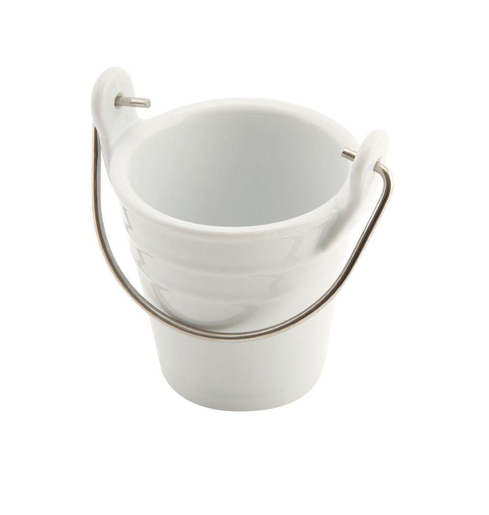 Porcelain Bucket W/ St/St Handle 6.5cm Ø 10cl