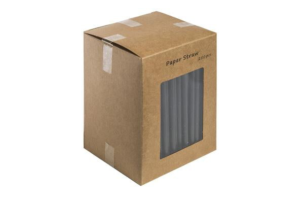 140MM - All Black Paper Straw 6mm pack of 250