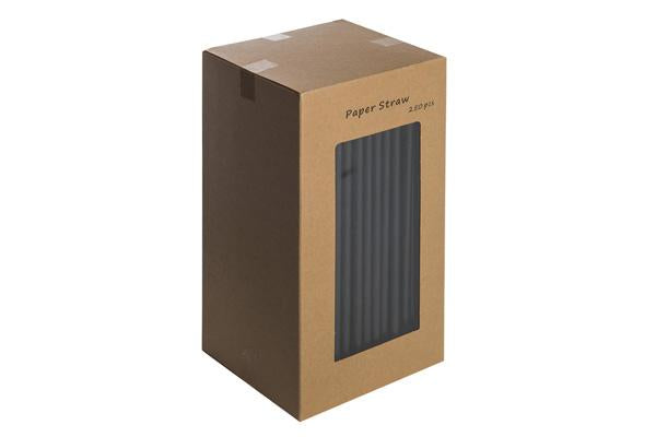 8INCH - All Black Paper Straw 6mm pack of 250