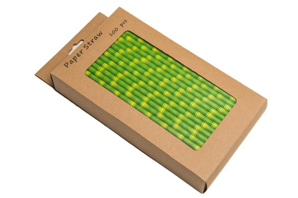 8INCH - Bamboo Paper Straw BOXED 6mm pack of 100