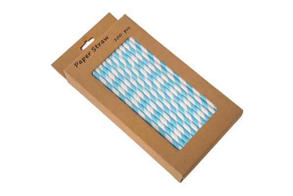 Blue & White Paper Straw BOXED  6mm / 8INCH - pack of 100
