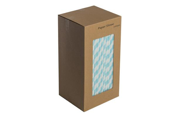 8INCH - Blue & White Paper Straw BOXED  6mm pack of 250
