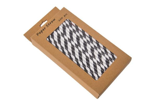 8INCH - Black & White Paper Straw BOXED  6mm pack of 100