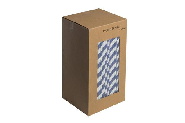 8INCH - Dark Blue & White Paper Straw BOXED  6mm pack of 250
