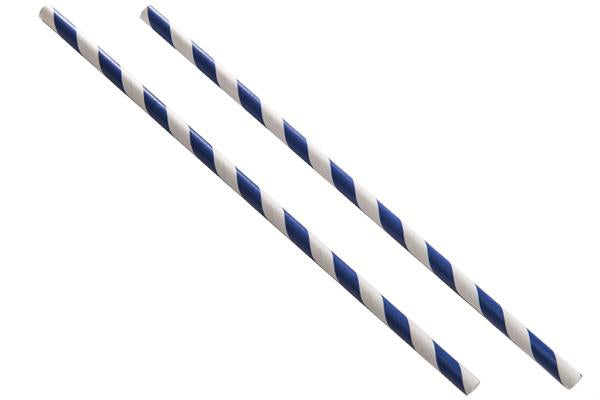 8INCH - Dark Blue & White Paper Straw BOXED  6mm pack of 100
