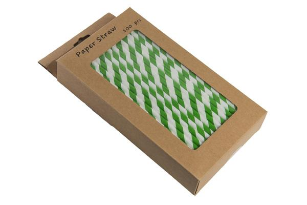 8INCH - Dark Green & White Paper Straw BOXED  6mm pack of 100