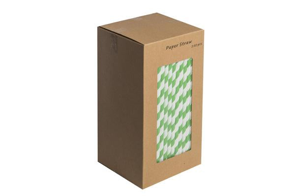 8INCH - Dark Green & White Paper Straw BOXED  6mm pack of 250