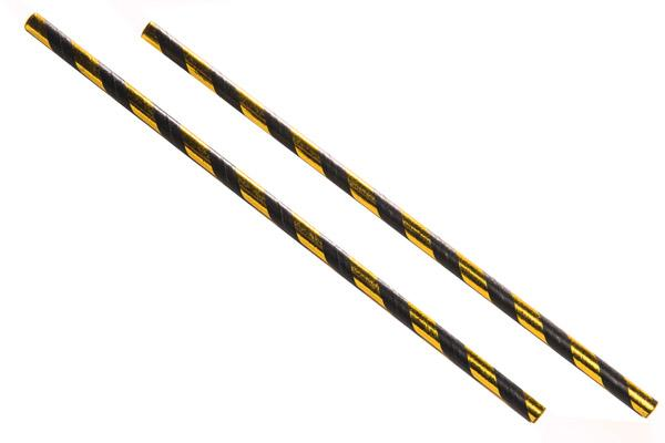 8INCH - Black & Gold Paper Straw 6mm pack of 100