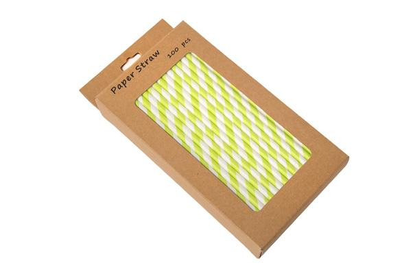 8INCH - Green & White Paper Straw BOXED  6mm pack of 100
