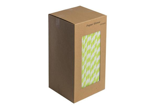 8INCH - Green & White Paper Straw BOXED  6mm pack of 250