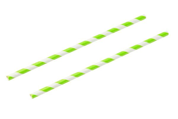8INCH - Green & White Paper Straw 6mm pack of 25