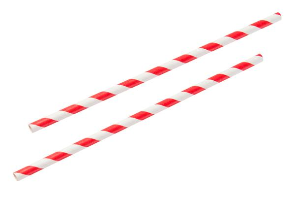 8INCH - Red & White Paper Straw 6mm pack of 25