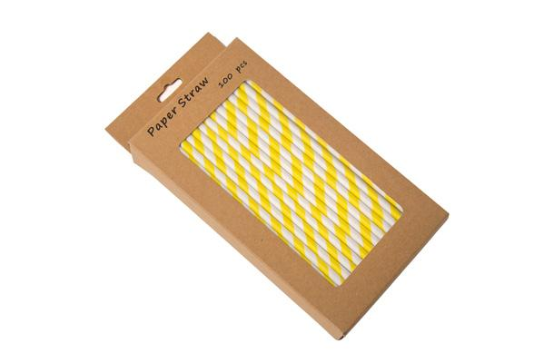 8INCH - Yellow & White Paper Straw BOXED  6mm pack of 100