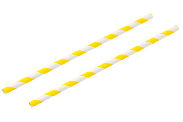 8INCH - Yellow & White Paper Straw 6mm pack of 25