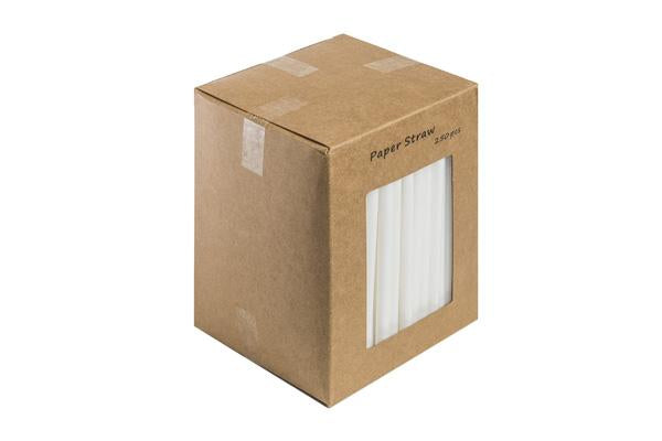 140MM - All White Paper Straw 6mm pack of 250