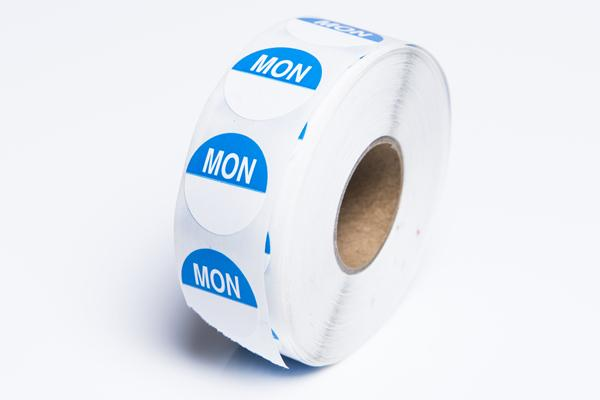 MONDAY - Round Day Dot - Box of 1000