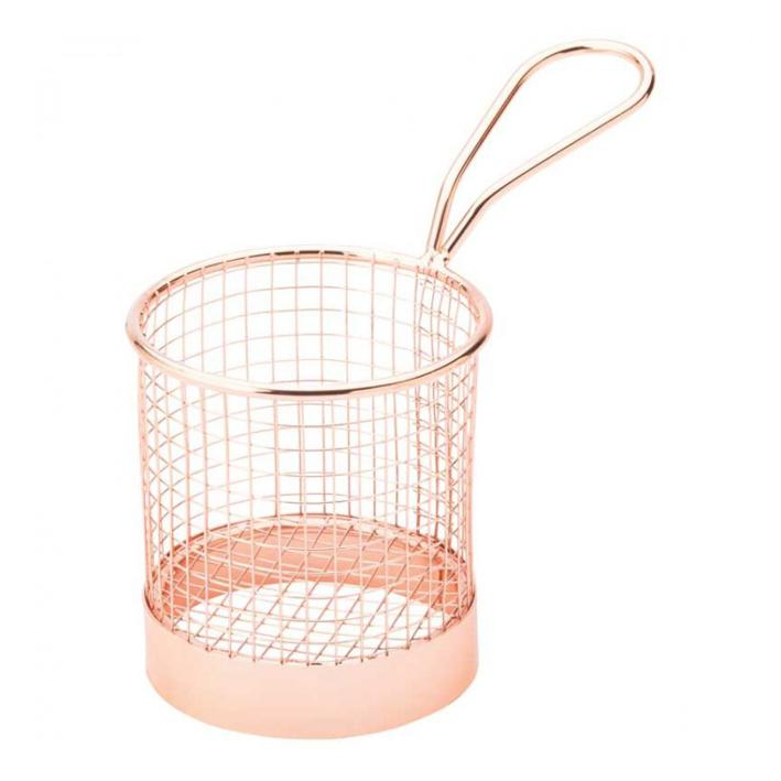 Copper Round Service Basket