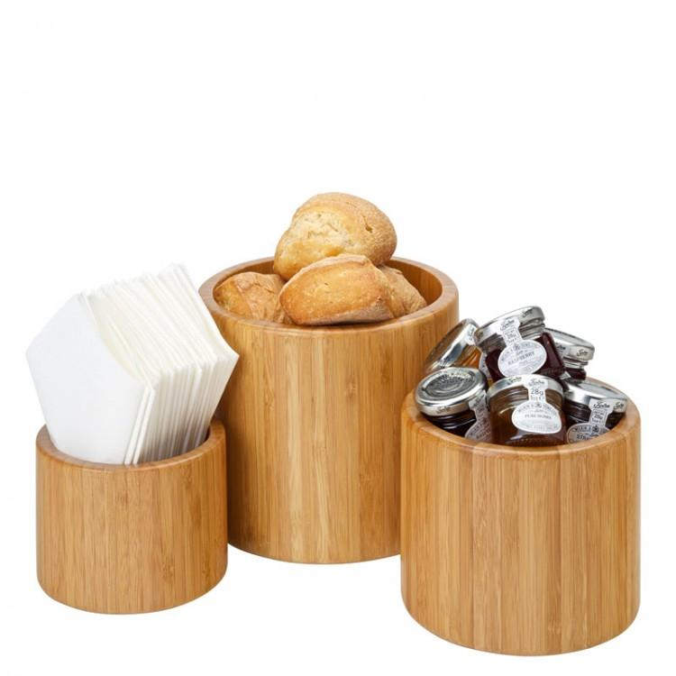 "Set of 3 Bamboo Riser/Display Bowl - Heights: 6, 4.75, 3.5"" (15, 12, 9cm), Width: 6.75, 5.5, 4.5"" (17, 14, 11.5cm) (set of 3)"