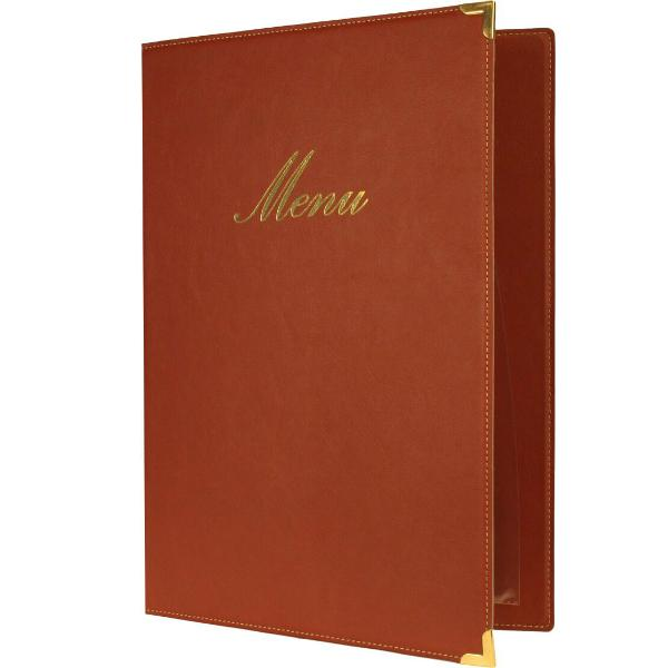 Classic A4 Menu Holder Wine Red 4 Pages