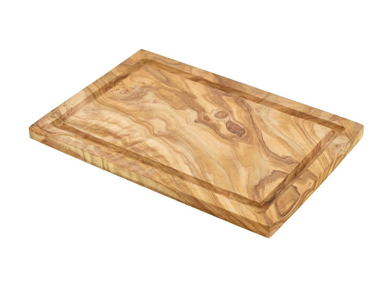 Olive Wood Serving Board W/ Groove 30X20cm+/-
