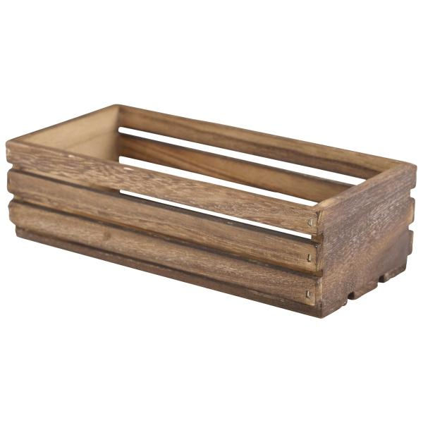 Wooden Crate Dark Rustic Finish 25 x 12 x 7.5cm