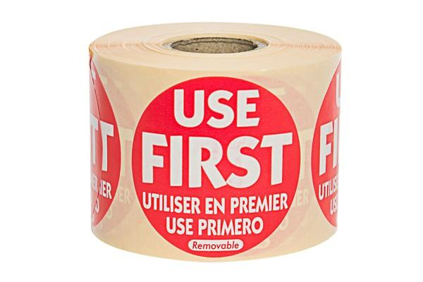 Red 'Use First' Label - 50mm Round - Box of 500