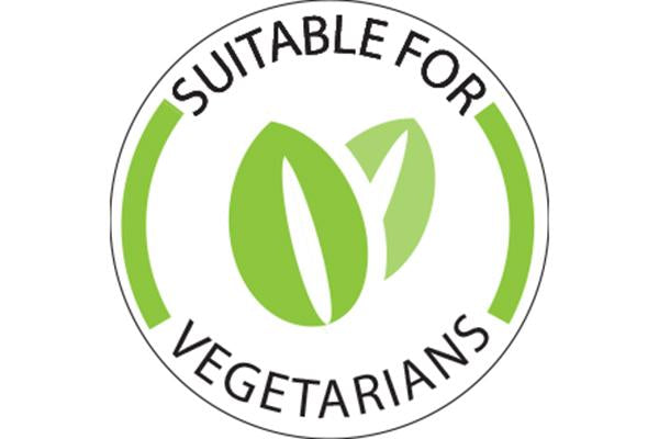 'Suitable for Vegetarians' Label - 25 x 25mm Box of 1000