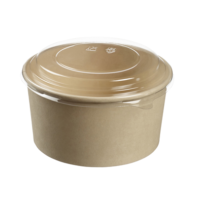 Biodegradable Bamboo Fibers Round Take-Away Box with PLA Lid 100cl - Box of 250