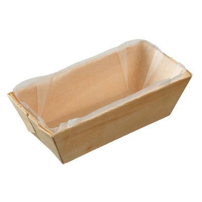 Rectangular Wooden Punnet with Baking Paper 215ml  - Box of 200